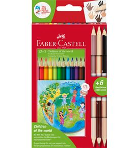 Faber-Castell - Pastelky Children of the world, pap. krabička 12+3 ks