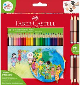 Faber-Castell - Pastelky Children of the world, pap. krabička 24+3 ks